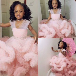 Lovely Light Pink Flower Girl Dresses Ruffles Tiered Skirts V Neck Girls Pageant Gowns Rhinestones Beaded Kids Formal Wear