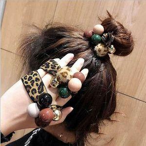 New Women Girl Leopard Print Hair Band Bead Ties Pretty High Elastic Rope Ring Hairband Ponytail Holder Headband Hair Accessory