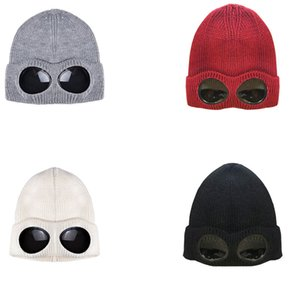 Knit Detachable Thickened Winter Knitted Hat Warm Windproof Ski Cap with Removable Glasses for Men Women