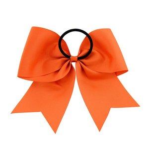 8 Inch Grande fita Cheerleading Sólidos Arcos Grosgrain elogio Laço de curvas Com elástico / Girls Rubber Band cabelo bonito EEA1367-3