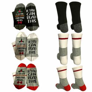 Chaussettes de Noël Femme Automne Imprimer Lettre Socks drôle mignon hiver chaud Chaussettes Cadeau de Noël