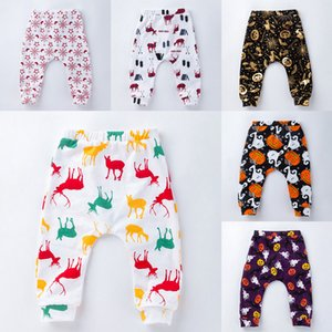 10 Colors Baby Pants Cotton Christmas Halloween Elk Snowflake Pumpkin Santa Claus Printed Harem Pant