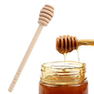 Long Handle Wood Honey Spoon Jam Honey Drizzler Server Wooden Honey Dipper Stick for Jar Mixing Spoon Tea Party Supply Kitchen Gadgets