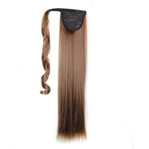 Las colas de caballo clip sintético adentro en las extensiones de cabello de recapitulación sobre la cola de caballo recto 24inch 120G sintéticas extensiones Postizos