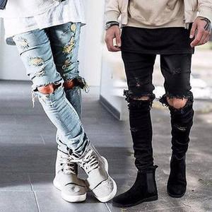 Vente en gros-Mens Ripped Skinny Slim droites élastiques Denim Fit Biker Jeans Pantalons longs Pantalons élégant droites Jeans Slim Fit