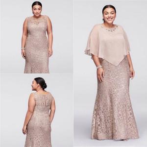 2019 Vestidos de la madre de la novia con el tamaño de la joya del cuello del cuello de la joya con el encaje completo con la envoltura del cabo con cuentas del piso de la longitud del piso de la sirena vestido de invitado
