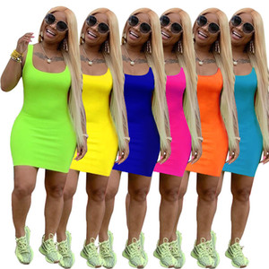 Femmes sangle robe sexy maigre couleur unie sans manches mini robes été vêtements nouveau style mode col rond robe tenue décontractée, plus la taille 618