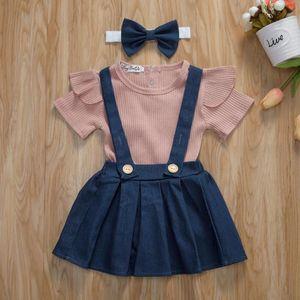 New Summer Baby Girl's Bib Skirt Suit Pleated Sleeveless Rib One-Piece Pants Denim Apron Headband Whole Set