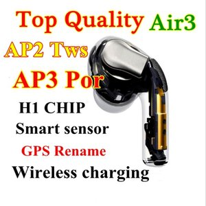 2020 New 3 Gene Super quality AirPros Air3 wireless Earphones Noise Canceling Bluetooth Headphones H1 chip Working Series Number GPS Headsets