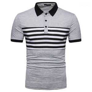 Short Sleeve Tees Slim Fashion Turn Down Collar Mens Tops Mens Designer Striped Patchwork Polos Casual