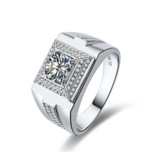 Vast 1CTW 6.5mm G-H Moissanite Men Ring CHARLES & COLVARD 925 Sterling Silver Ring 100 grains Micro-paved Hand by Hand