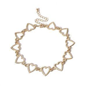 Hohl Herz Choker Halskette Silber Gold Herzform Halskette Kette Frauen Modeschmuck