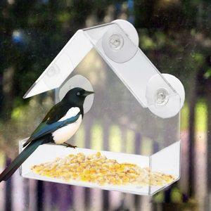 Praktische Acryl Transparent Vogel Eichhörnchen Feeder Tray Vogelhaus Fenster-Saugschalen-Werkzeuge einfach zu installieren Pet Supplies