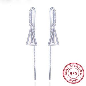100% Real 925 Sterling Silver Earrings Triangle Geometric Earrings Jewelry Long Crystal Tassel Dangle Earrings for Women