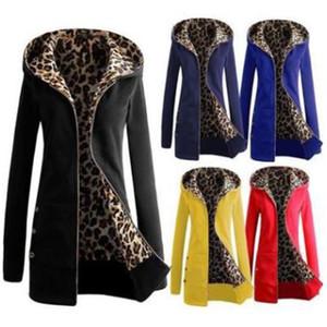 Leopard hooded women's sweater Europe, America, autumn and winter thickened Plush large straight tube zipper long sleeve slim women's dress