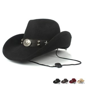 Homens Mulheres de lã Cowboy Hat Western Cap Panamá Sunhat largas Hats Caps chapéus, lenços luvas Brim Fedora Trilby