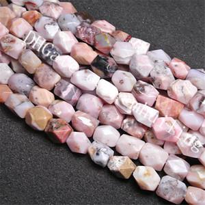 1 Full Strand Pink Opal Nuggets 15 * 18 mm Corte irregular facetado de piedras preciosas naturales perlas sueltas genuino rosa perlas de ópalo peruano resultados de la joyería