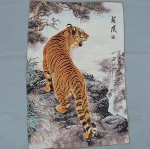 Großhandel Brocade Textilmalerei Silk Stickerei Thangka-Maschine Stickerei Seidenstoff Malerei Heroic Tiger Uphill Tiger