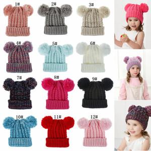 12styles Kid punto de ganchillo gorritas muchachas suavemente doble bolas invierno sombrero caliente del invierno al aire libre caliente del bebé Pompón esquí Caps FFA3155