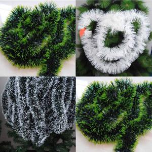 200cm Decorazioni natalizie colorate Bar Top Nastro Ghirlanda Ornamenti per alberi di Natale Bianco scuro verde canutiglia Forniture per feste