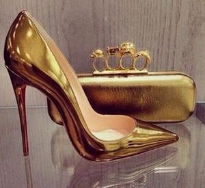 Venta de bombas inferior de color rojo zapatos de Pigalle mujeres de los talones de la boda calientes talones del dedo del pie en punta fina mujer atractiva suela roja