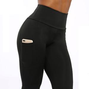 Womens Leggings sólido fitness ropa de alta polainas de las mujeres del bolsillo de la alta cintura de los pantalones de entrenamiento Mujer remiendo Leggins Push Up 2