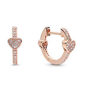 Orijinal kutusu ile Pandora Gül altın kaplama aşk Küpe setleri için lüks 18K Pavé Kalp Hoop Küpeler Kadınlar tasarımcı takı