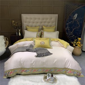 4-6pcs Egyptian Cotton Bedding Sets Queen Size Bedclothes Copripiumino Matrimoniale Rose Embroidered parure de lit 220 240 King