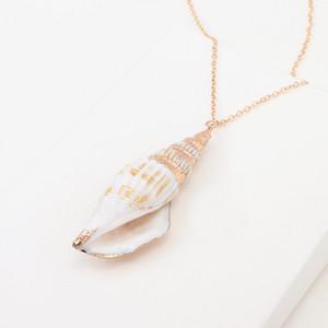 Colar de conchas de mar Colar de conchas Espiral de mar Colar de caracol Colares de conchas de praia do oceano