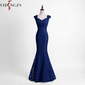 Vestido YIDINGZS elegantes Beads Lace Mermaid Dress dama 2019 Wedding Party Magro Burgundy