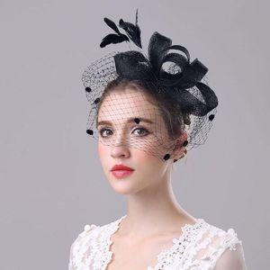 Bridal hat headwear hair clips elegant feathers large mesh linen hat flower hair accessories Banquet lady decoration