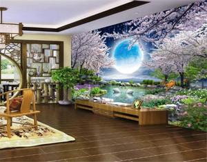 3D ورق الحائط ضوء القمر جمال القمر زهرة جيد القمر الكرز إزهار شجرة المشهد HD متفوقة ديكورات الداخلية للجدران