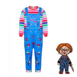 Kinder-Halloween-Kostüm für Junge Weihnachtskleidung Kinderspielkleidung Chucky Kostüm Printed Cosplay Overall Boy 62965