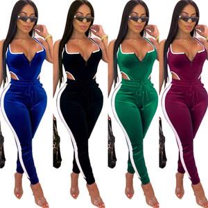 Женская рукавов Вырез Tracksuit ремень Zipper Sexy Backless Мода Solid Color Тощий Bodysuit Famale Designer 2 Piece Set