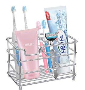 Cepillo de dientes eléctrico titular de pasta de dientes grandes de acero inoxidable titulares limpiador facial a prueba de herrumbre metal plateado accesorios de baño Organizador