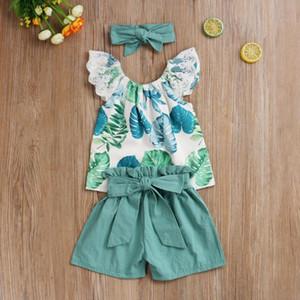 Enfants fille 3PCS Outfit Set Feuilles Flamingo loose Motif à manches courtes + court Dot Ruffle Pantalons bande élastique + Bow Hair Band