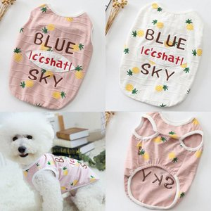 Japanese and Korean style summer new pet clothing cotton elastic puppy dog clothing stretch cold sense embroidery color matching design pine