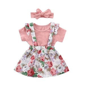 3pcs Baby Girls Clothes Sets Summer Princess Party Outfits Romper Flower Strap Dress Headbands Toddler Infant Girl Clothing