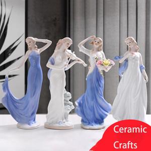 20styles Europa Ceramic Beauty estatuetas de porcelana Artesanato presente de casamento Ornamento Início Mobiliário Decoração Artesanato ocidentais Lady Meninas