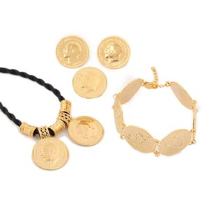 Ethiopian Gold Coin Schmuck Sets Ethiopian Coin Set Münze Halskette Anhänger Ohrringe Ring Armband Schmuck