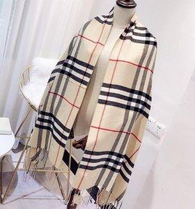 2018 automne et en hiver nouvelle écharpe à carreaux cachemire de gros pompon chaud marque classique