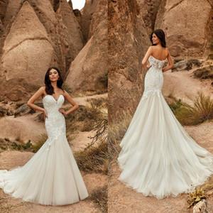 Eddy K Mermaid Wedding Dresses Elegant Sweetheart Neck Lace Appliqued Bridal Gowns Tulle Backless Sweep Train Plus Size Wedding Dress