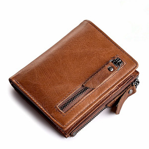 Genuine Leather Mens Wallet Clutch Male Vintage Hasp Slim RFID Wallet Short Coin Purse Men Card Holder Clamp for Money Wallets