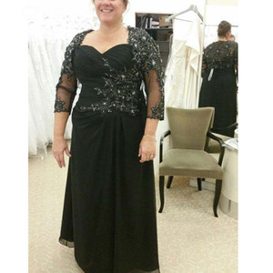 2020 Black Mother Of The Bride Dresses A-line sweetheart 3 4 Sleeves Chiffon Appliques Beaded Plus Size Groom Mother Dresses For Weddings