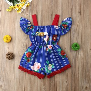 Focusnorm New Fashion Newborn Baby Kids Girls Infant New Floral Romper Off Shoulder Jumpsuit Cotton Outfit