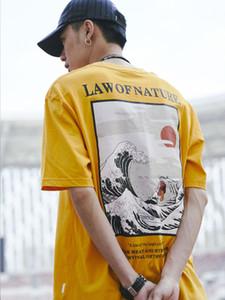 Dark Icon Law of Nature Harajuku Japanese Funny Cat Wave T-shirt Hombres Hip Hop Camisetas Algodón Casual Camisetas Hombre Top Y19072201