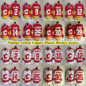 Hommes Calgary Flames maillots version Vintage 14 FLEURY 12 IGINLA 9 MCDONALD 39 GILMOUR 25 Nieuwendyk 30 VERNON 10 ROBERTS CCM jersey de hockey