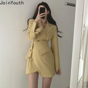 Joinyouth mujeres coreanos de la vendimia elegantes trajes de chaqueta corta capa + botones laterales Irrefular Falda de talle alto de la moda conjunto sólido 59379