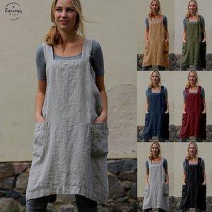 Femme Place Croix Tablier Jardin Travail chasuble Robes Femmes Linen Pinafore encolure carrée Robes Taille Plus Robe Femme Mesdames Vêtements