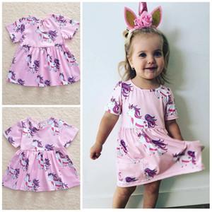 Ins Baby Unicórnio Princesa Saias de Impressão Pure Pink Color Manga Curta Bolso Vestidos Dos Desenhos Animados Da Menina Roupas Em Casa 19yd E1